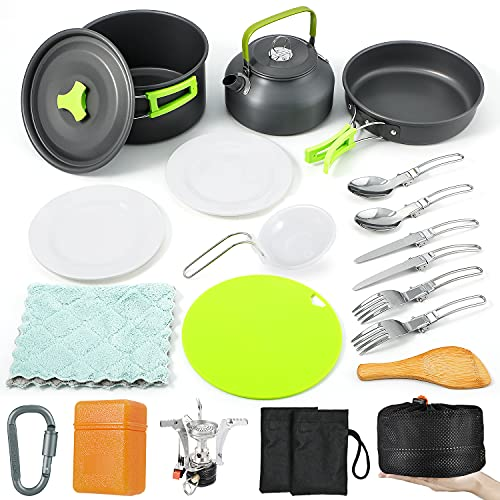 Sportneer 18Pcs Camping Cookware Set Stove Canister Stand Tripod Hiking Cooking Set Backpacking Stove Kit Anti-Stick Slip Pans Kettle Plates Stainless Steel Folding Knife Fork Cutting Board Carabiner