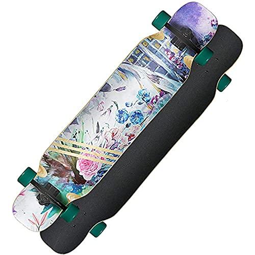 F&FSH Freestyle Drop-Through Longboard Skateboard Cruiser, (Hundert Blumen Muster) 44 Zoll Bambus + Maple Deck Skateboard Laden Sie Bis Zu 400 Pfund Für Cruising Carving Free-Style Und Downhill