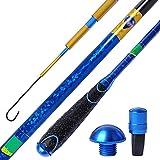 JIAGU Mosca de caña de Pescar 4.5M / 5M Rod de Ocio Engranajes de Pesca Rodilla de Mano Crucian Carpa Rod Rod de Pesca de Pesca Suministros Barras de Mosca de Agua Dulce (Color : Blue, Size : 4.5m)