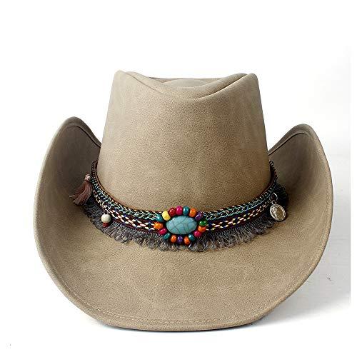 Panamahut - Hoed van natuurlijk leer, Cowboyhoed voor dames, western-strohoed met jazz-kwast voor dames, 58-59 cm