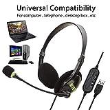 コンピューターヘッドセットUSBヘッドセット軽量で快適なヘッドフォンフレキシブルマイクユニバーサルコンピューターラップトップPC PCオフィス、教室、または自宅の電話