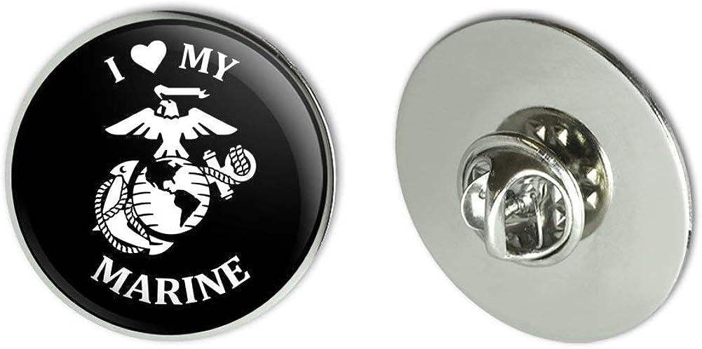 GRAPHICS & MORE I Love My Marine USMC White on Black Officially Licensed Metal 1.1