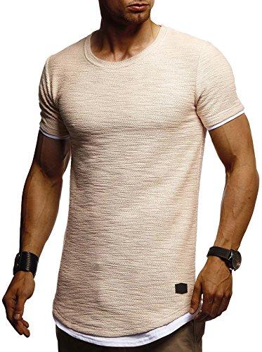 Leif Nelson Herren Sommer T-Shirt Rundhals-Ausschnitt Slim Fit Baumwolle-Anteil Moderner Männer T-Shirt Crew Neck Hoodie-Sweatshirt Kurzarm lang LN8223 Beige Large