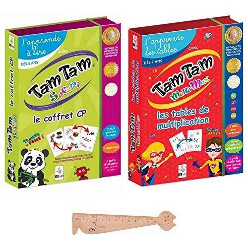 Tam Tam d'ABludis 2 Koffer, Tam Safari CP + Tam Multimax + 1 Lineal Lesezeichen aus Holz Blumie