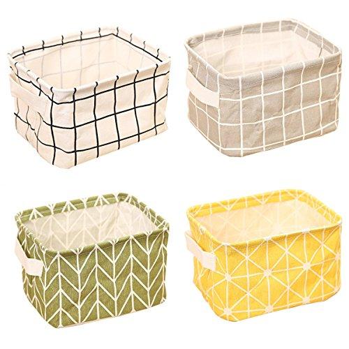 ZhengYue 4 Pack of Folding Aufbewahrungskorb, Small Baby Linen Storage Organizer Sets Plastic Storage Box Organizer