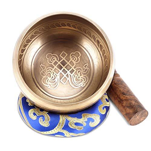 wishing Klangschale Set, Tibetische Klangschalen Set mit Klöppel und Kissen Singing Bowl für Yoga, Meditation Entspannung, Stress & Angstreduktion, Chakra Heilung (10.5cm)