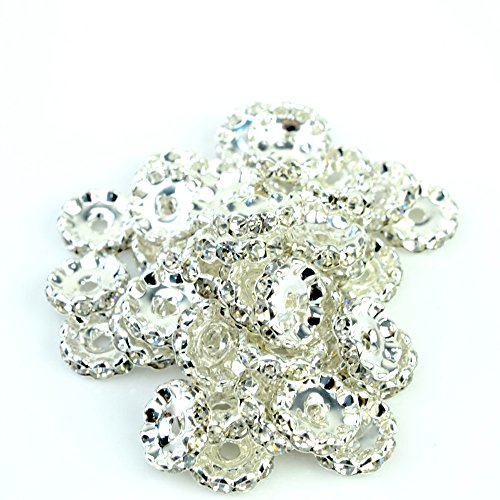 RUBYCA 100pcs 4mm Wavy Rondelle Spacer Beads Silver Tone White Clear Czech Crystal by