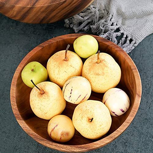 FASJ Ensaladera de Madera, Cuenco de Madera de Superficie Lisa, Ligero, Hecho a Mano, fácil de Hacer para Frutas para Sopa