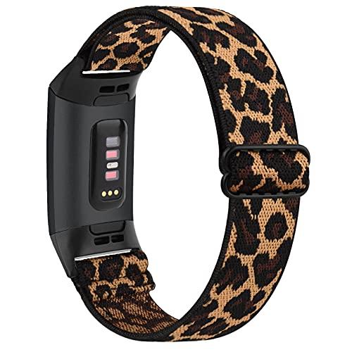 WAIYI Kompatibel mit Fitbit Charge 3 Armband/Fitbit Charge 4 Armband, Verstellbares Dehnbares Nylon Ersatzband für Fitbit Charge 3/Fitbit Charge 4 (Leopard)