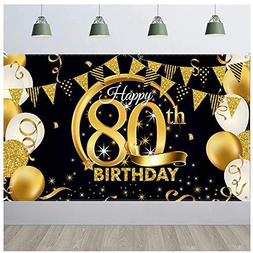SUNSHINETEK Banner de telón de Fondo para Fiesta de Feliz cumpleaños Tela Extragrande Cartel de Fondo para Fiesta de cumpleaños número 80 Cartel de Cartel de Oro Negro para decoración de Fiesta