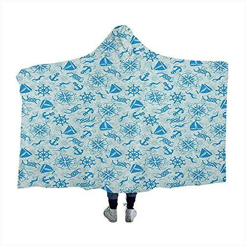 Kompas Draagbare Hooded Deken Capuchon Poncho Verschillende Nautische Iconen met Seagulls Anker Zeeman Knot en Helm Zeeman Thema voor Volwassenen Tieners Napping Stoel Home Decor Mint Groen Blauw 60x50 inch