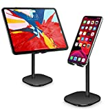 Cell Phone Stand, Tablet Holder, WATACHE Height Adjustable Aluminum Mount Dock Cradle for iPhone Samsung, Tablet, iPad, Nintendo Switch, Kindle, Great for Facetime& Recipe Reading,Black