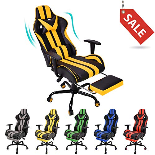 Massage Gaming Chair,E-Sports Chair,Office Chair,PC Computer Chair,High Back Racing Style Racing Chair with Hight Adjustment,Massage Lumbar Support,Headrest,Retractable Footrest(Racing Yellow) chair gaming