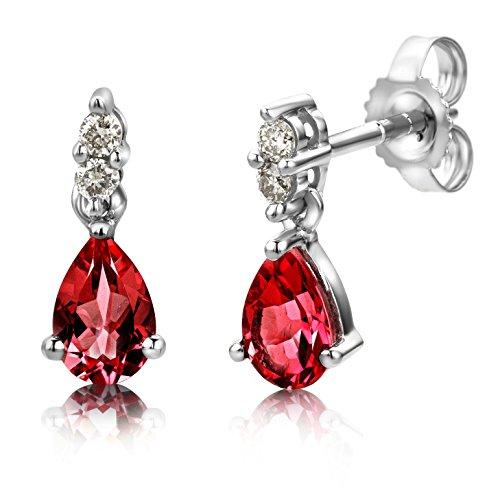 Miore hangende oorbellen uit 9 karaat 375/1000 witgoud met peervormige edelstenen en briljant geslepen diamant 0.08 caraat