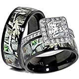 Kingsway Jewelry His & Her Black Titanium Camo Sterling Silver Halo Engagement Wedding Ring Set (Size His 11, Hers 07)