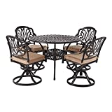 Laurel Canyon Outdoor Dining Set, 5 Piece Cast Aluminum Furniture, 4 Patio Swivel Chairs 42' Round Table with Cushions for Yard Garden Deck, Dark Brown