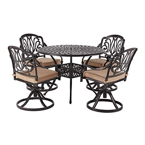 Laurel Canyonlaurel Canyon Outdoor Dining Set 5 Piece Cast Aluminum Furniture 4 Patio Swivel Chairs 42 Round Table With Cushions For Yard Garden Deck Dark Brown Dailymail