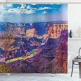 Cortina de Ducha Canyon, Vista aérea de la épica Actividad del Gran Cañón de River Stream sobre Rock Plateau Print, Conjunto de decoración de baño de Tela con Ganchos, Azul Tostado