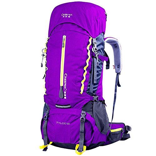 60L Professional grande capacité Sac de Voyage Fashion Men & Women Sac à dos Double-épaule Sac à dos étanche , purple