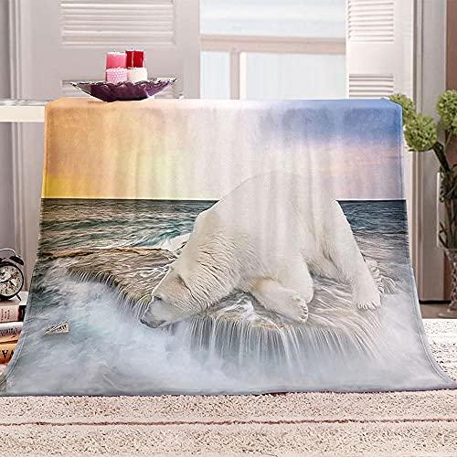 Manta De Cama 3D Oso Polar océano Manta Reversible Suave y Esponjosa De Lana Estampado Manta de Dormitorio para Cama Infantil Individual Matrimonio 150x200cm