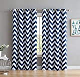 HLC.ME Chevron Print Thermal Insulated Energy Efficient Room Darkening Blackout Window Curtain Grommet Top Panels for Bedroom & Nursery - Set of 2-52' W x 84' L - Navy Blue