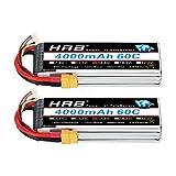 HRB 2PCS 4S 14.8V 4000mAh 60C Lipo Batterie avec XT60 Plug pour RC Hélicoptère Avion Voiture Bateau Camion