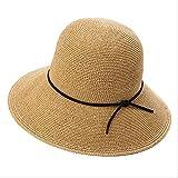 Lsthnm Sombreros para El Sol De ala Ancha para Mujer Sombrero De Paja De Playa Sombrero De Viaje De Verano con ala Plegable - Plegable