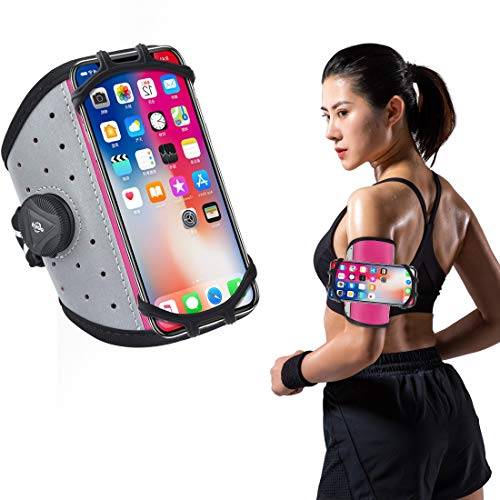 TOPACE Running Armband, 360° drehbar, Sportarmband Handyhülle universell kompatibel mit Samsung Galaxy A51/iphone 11 alle 4.7-6.5 Zoll Smartphones (16-25CM, Rgol)
