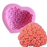ODN 3D Herz Rose Blumen Silikonform DIY Marzipan Fondant Tortendeko Seife Form