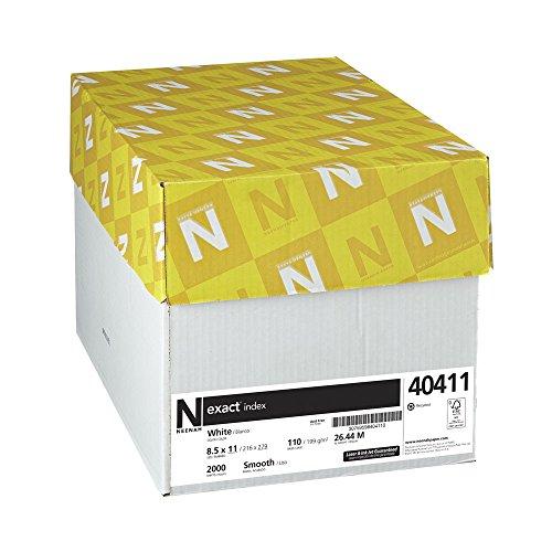 Neenah Exact Index Cardstock, 8.5' x 11', 110 lb/199 gsm, White, 94 Brightness, 2000 Sheets (40411)
