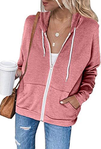 Uusollecy Damen Sweatjacke Hoodie Sweatshirtjacke Pullover Oberteile Kapuzenpullover Einfarbig Full Zip Casual Hoodie Sweatshirt A-rosa XXL