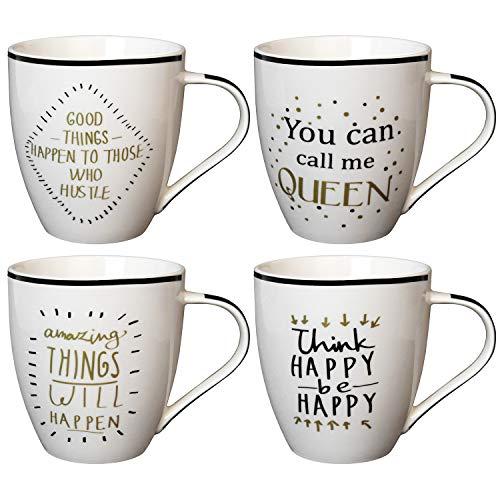 Juego de 4 tazas con asa, aprox. 400 ml, color negro y dorado, 4 variedades, porcelana, tazas de café