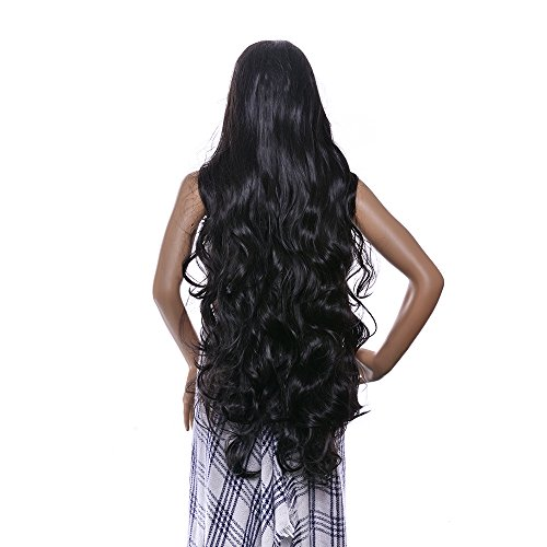 AGPtEK 40 Inches Heat Resistant Long Curly Wave Wig with Full Head Clip -- Black