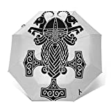 Paraguas Plegable Automático Impermeable Icono de Martillo, Paraguas De Viaje Compacto a Prueba De Viento, Folding Umbrella, Dosel Reforzado, Mango Ergonómico