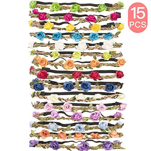 style populaire beau look nouvelle arrivée Yidaxing Lot de 15 haarband avec couronne de fleurs Bandeau Bandeau Bandes  de Cheveux de Fleurs avec bande élastique pour les femmes Fille Multicolore  ...