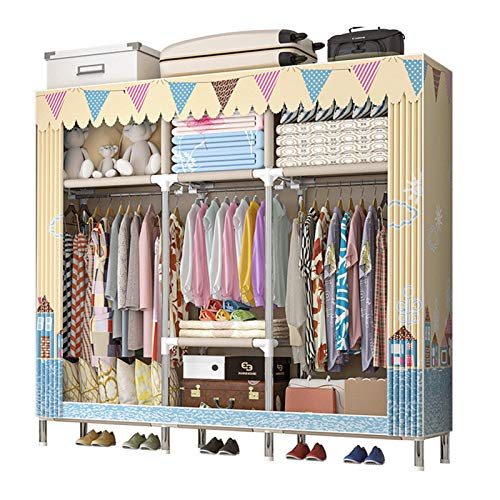KDOAE Almacenamiento de Armario Guardarropa almacenaje Closet Ropa portátil guardarropa almacenaje Armario Organizador armarios estantería Ropa Muebles de Dormitorio (Color : D3, Size : 163x45x172cm)