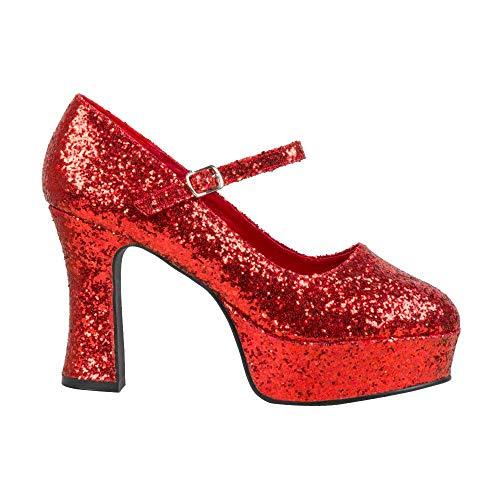 Boland 46055 - Schuhe Disco Glitter rot, Größe 41
