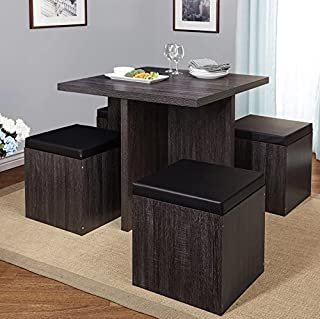 Simple Living 5 Piece Baxter Dining Set With Storage Chair Ottomans Black Grey