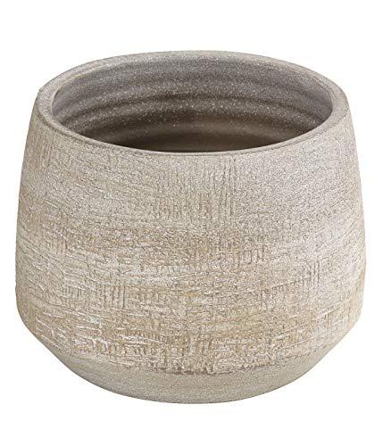 Dehner Übertopf Elias, Ø 26 cm, Höhe 21 cm, Keramik, creme