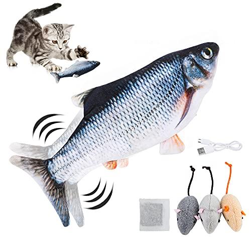 NOROTA Katzenspielzeug elektrischer Fisch mit USB-Akku-Anschluss wackelnder Plüsch-Simulationsfisch mit DREI kleinen Maus und Katzenminzen geeignet für Kätzchen zum Spielen,Beißen,Kauen und Treten