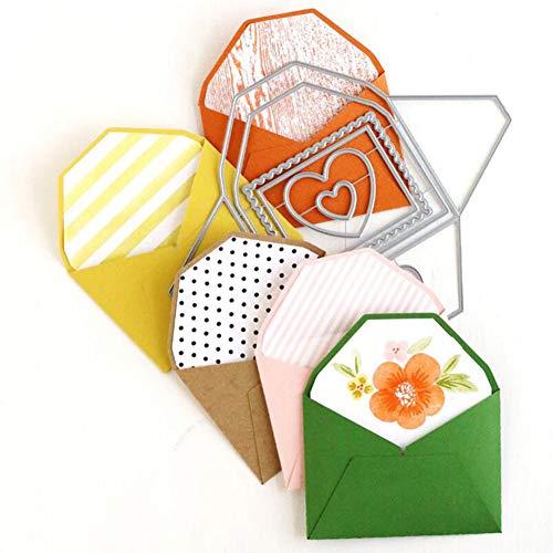 Livecitys Langlebige Papierprägewerkzeug, Umschlag-Design, Stanzschablone, Metall-Stanzformen, DIY, Scrapbooking, Karten, Prägeschablone, Schablone, Silber