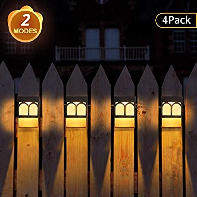 Solar Lights Outdoor, 2 Modes Solar Deck Lights for Garden Decorative, Fence, Patio, Front Door, Stair, 4 Pack