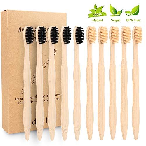 Bambus Zahnbürsten,Sporgo 10 Pack Zahnbürste Holz bambus Bambuszahnbürste Set Biologisch Abbaubar BPA Frei Unabhängige Verpackung, Holzzahnbürste Weiche für gesunde weiße Zähne (color 1)