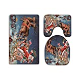 A.Monamour Santa Claus Reindeer Pulling Sleigh Above Village On Snowy Christmas Eve Print Flannel Toilet Seat Covers Toilet Lid Covers Cushions Pads Skidproof Bath Mat Rug For Toilet Accessories