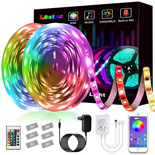 L8star Bande LED flexible à changement de couleur RVB avec contrôleur Bluetooth Synchronisation de la musique Utilisation pour chambre à coucher