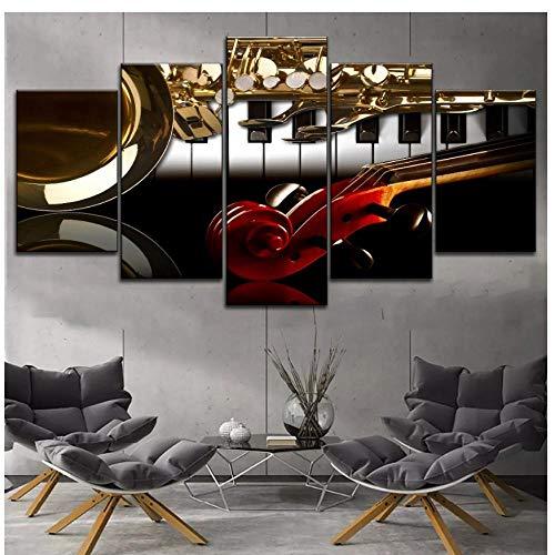 XXSCZ 5 Leinwandbilder Leinwanddruck Musikinstrumente Bild 5 Panel Modular Style Musik Klassenzimmer Wanddekoration Klavier und Violine Griff Saxophon zeichnen
