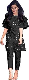HAVIYA Women's Cotton Readymade Salwar Suit (LF-Moti Black -XL_Black_X-Large)