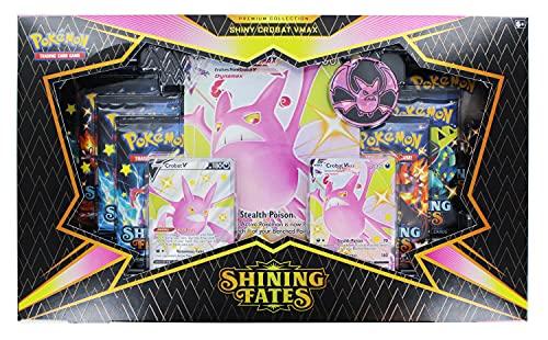Pokémon TCG Shining Fates, Premium-Kollektion Shiny Crobat VMAX / Shiny Dragapult VMAX (1 Stück, zufällige Auswahl)