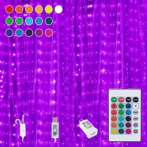 16 Colors Changing Curtain Lights, 250 LED 9.8 X 8.8 Feet...