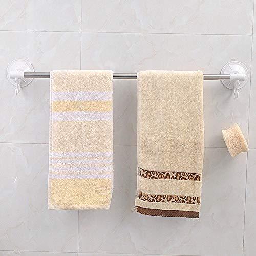 WOSBE Handtuchhalter mit starken Saugnapf Duschstange Handtuchstange Handtuchhalter Badetuchstange Mit Haken Geschirrtuchhalter 60cm